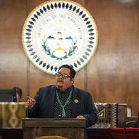 Navajo Nation Council Delegate Seth Damon, presents his platform for speaker to the Navajo Nation Council, Monday, Jan 28 on the first day of the winter session in Window Rock, Ariz. Damon was one of four nominees and was elected speaker of the Navajo Nation Council.