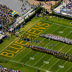 Aerial views of the University of Delaware Blue Hens Football game, Half time performances by the band