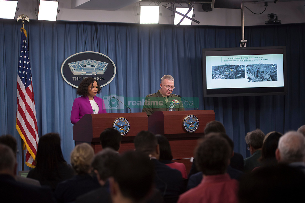 April 14, 2018 - Washington, District of Columbia, U.S. - The assistant to the secretary of defense for public affairs, and the Joint Staff director, brief the press regarding American operations in Syrian at the Pentagon in Washington. (Credit Image: ? USAF/ZUMA Wire/ZUMAPRESS.com)