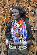 Africa, Ethiopia, Omo valley, a family of the Arbore tribe woman