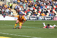 Jon Parkin of Newport county (c) celebrates after he scores his teams 2ND goal to equalise at 2-2. EFL Skybet football league two match, Newport county v Cheltenham Town at Rodney Parade in Newport, South Wales on Saturday 10th September 2016.<br /> pic by Andrew Orchard, Andrew Orchard sports photography.
