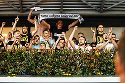 HNK Rijeka players during celebration after winning Croatian national soccer league after football match between HNK Rijeka and HNK Cibala in Round #35 of 1st HNL League 2016/17, on May 21st, 2017 in Rujevica stadium, Rijeka, Croatia. Photo by Grega Valancic / Sportida