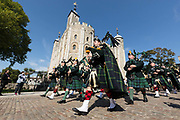 Fusiliers march past the Tower of London in London, England during a parade to celebrate their 50th anniversary on September 06, 2018.