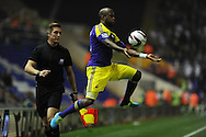 Swansea city's Dwight Tiendalli just manages to keep the ball in play. . Capital one cup 3rd round match, Birmingham city v Swansea city at St.Andrews in Birmingham on Wed 25th Sept 2013. pic by Andrew Orchard, Andrew Orchard sports photography.