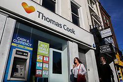 © Licensed to London News Pictures. 23/09/2019. London, UK. A branch of Thomas Cook in central London. The Civil Aviation Authority (CAA) announced shortly after 2 am this morning that the travel agent firm Thomas Cook had ceased trading with immediate effect. The liquidation puts 9,000 British jobs at risk and leaves the UK Government and CAA to fly home around 150,000 British holiday-makers left stranded around the world. Photo credit: Dinendra Haria/LNP