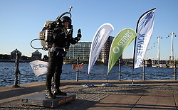 David Mayman before he piloted the JB-10 Jetpack flying machine over the Royal Victoria Docks in east London on its maiden flight in the UK to mark the launch of an equity crowdfunding campaign on Seedrs.
