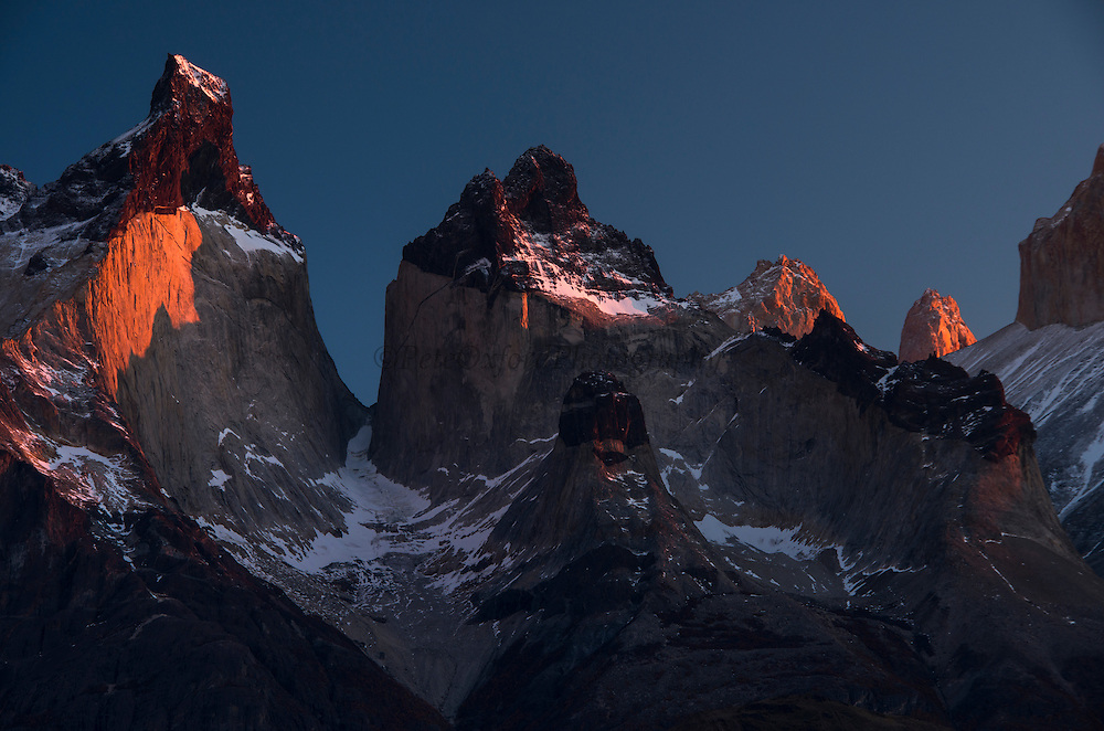 Torres del Paine<br /> 3 granite peaks of Paine mountain range<br /> Torres del Paine National Park<br /> Patagonia<br /> Magellanic region of Southern Chile<br /> ENDEMIC to southern South America