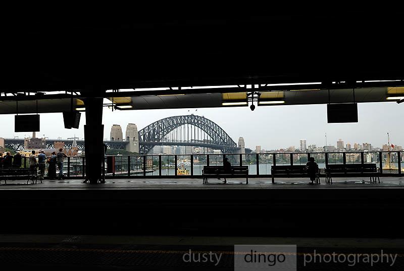Sydney Harbour Bridge, viewed from inner platform of the Circular Quay Railway Station. Circular Quay, Sydney, Australia