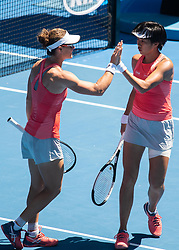 MELBOURNE, Jan. 21, 2019  Zhang Shuai of China (R) and Samantha Stosur of Australia celebrate during their women's doubles third round match against Alize Cornet of France and Petra Martic of Croatia at 2019 Australian Open in Melbourne, Australia, on Jan. 21, 2019. (Credit Image: © Elizabeth Xue Bai/Xinhua via ZUMA Wire)