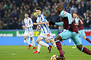 Huddersfield Town's Joe Lolley during the Premier League match between Huddersfield Town and West Ham United at the John Smiths Stadium, Huddersfield, England on 13 January 2018. Photo by Paul Thompson.