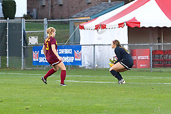 04 November 2016:  Taylor Lambouris & Cassidy Lentz during an NCAA Missouri Valley Conference (MVC) Championship series women's semi-final soccer game between the Loyola Ramblers and the Evansville Purple Aces on Adelaide Street Field in Normal IL