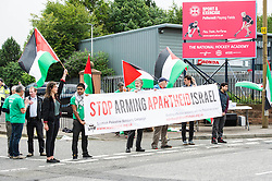 Supporters of the Scottish Palestine Solidarity Campaign demonstrated against Israel's participation in the FIL Rathbones Women's 2015 U19 lacrosse world championships in Edinburgh today. Protests are planned for the team's games against Korea, New Zealand, Finland and the US in the coming four days in the leafy area or Peffermill..<br /> <br /> © Ger Harley/ StockPix.eu