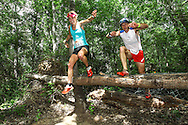 Landie and Christiaan Greyling vault an obstacle on their way to victory in the Mixed Category on Stage 3 of the Fairview Dryland Traverse, on the 6th of November 2016.<br /> <br /> <br /> Photo by: Oakpics/Fairview Dryland Traverse/SPORTZPICS<br /> <br /> <br /> {dem16gst}