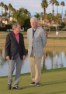 """22 JAN 15  Tim Finches with The 42nd President of the United States, William Jefferson Clinton on the 18th green at the conclusion of Sunday""""s Final Round at The Humana Challenge at PGA West, in LaQuinta, California.(photo credit : kenneth e. dennis/kendennisphoto.com)"""