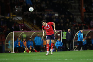York City midfielder Sean Newton (3) heads the ball clear during the Vanarama National League match between York City and Chester FC at Bootham Crescent, York, England on 13 November 2018.