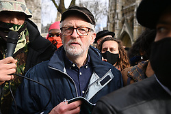 © Licensed to London News Pictures. 03/04/2021. London, UK. Former Labour Party leader Jeremy Corbyn  takes part in a demonstration in Hyde Park against the Government's proposed Police, Crime, Sentencing and Courts Bill. Photo credit: Ray Tang/LNP