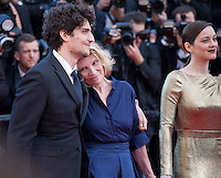 Actor Louis Garrel, Director Nicole Garcia, actress Marion Cotillard<br /> at the gala screening for the film Mal De Pierres (From the Land of the Moon) at the 69th Cannes Film Festival, Sunday 15th May 2016, Cannes, France. Photography: Doreen Kennedy