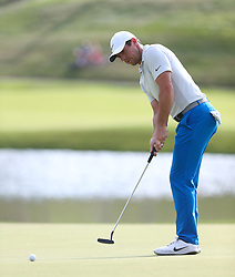 June 21, 2018 - Cromwell, Connecticut, United States - CROMWELL, CT-JUNE 21: Rory McIlroy putts the 17th green during the first round of the Travelers Championship on June 21, 2018 at TPC River Highlands in Cromwell, Connecticut. (Credit Image: © Debby Wong via ZUMA Wire)
