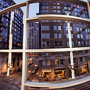 Panorama from inside Downtown Kansas City Library garage stairwell facing southward.