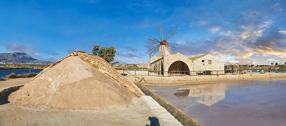 Pictures & images of Nubia Salt works Museum and Nubia wind mill,  World Wildlife reserve of Saline di Trapani and Paceco site, Trapani Sicily. .<br /> <br /> Visit our SICILY PHOTO COLLECTIONS for more   photos  to download or buy as prints https://funkystock.photoshelter.com/gallery-collection/2b-Pictures-Images-of-Sicily-Photos-of-Sicilian-Historic-Landmark-Sites/C0000qAkj8TXCzro<br /> If you prefer to buy from our ALAMY PHOTO LIBRARY  Collection visit : https://www.alamy.com/portfolio/paul-williams-funkystock/trapanimaslalasaltpans.html