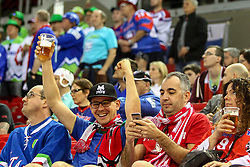 Supporters of Great Britain during Ice Hockey match between National Teams of Great Britain and Slovenia in Round #1 of 2018 IIHF Ice Hockey World Championship Division I Group A, on April 22, 2018 in Budapest, Hungary. Photo by David Balogh / Sportida
