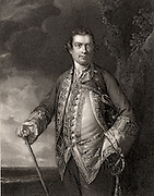 Augustus Keppel, 1st Viscount Keppel (1725-1786). Admiral in the British navy. Served during the Seven Years War and the American War of Independence. Engraving.
