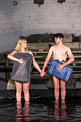Performers from Volcano Theatre's Seagulls perform partly submerged in 45 tonnes of water in an interior lake filling St James church in Leith.<br /> <br /> Seagulls is an adaption of Chekov's The Seagull.<br /> <br /> Pictured L to R:  Elin Phillips,  Christopher Elson