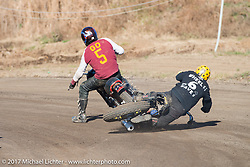 "Go Takamine takes out Toshiyuki ""Cheetah"" Osawa, both who swapped bikes over and over to keep getting back into the thick of it at Go's Brat Style's flat track racing at West Point Offroad Village. Kawagoe, Saitama. Japan. Wednesday December 6, 2017. Photography ©2017 Michael Lichter."