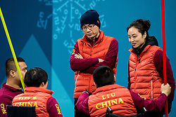 March 17, 2018 - Pyeongchang, SOUTH KOREA - 180317 Qiang Zhang and Qingshuang Yue, head coach of China, talks to the players during in wheelchair curling final match between China and Norway during day eight of the 2018 Winter Paralympics on March 17, 2018 in Pyeongchang..Photo: Vegard Wivestad GrÂ¿tt / BILDBYRN / kod VG / 170135 (Credit Image: © Vegard Wivestad Gr¯Tt/Bildbyran via ZUMA Press)