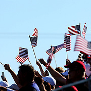 Ryder Cup 2016. Day Three. Fans of the United States waving flags during the Sunday singles competition at  the Ryder Cup tournament at Hazeltine National Golf Club on October 02, 2016 in Chaska, Minnesota.  (Photo by Tim Clayton/Corbis via Getty Images)