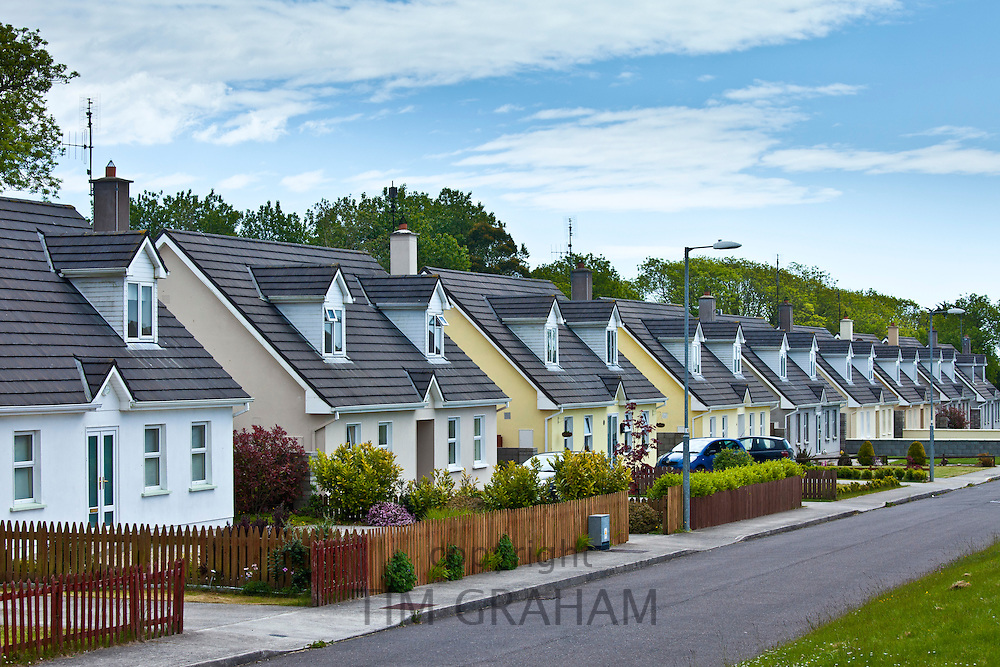 New build houses new development in County Cork, Ireland. EU funds led to 'Celtic tiger' investment in the Republic