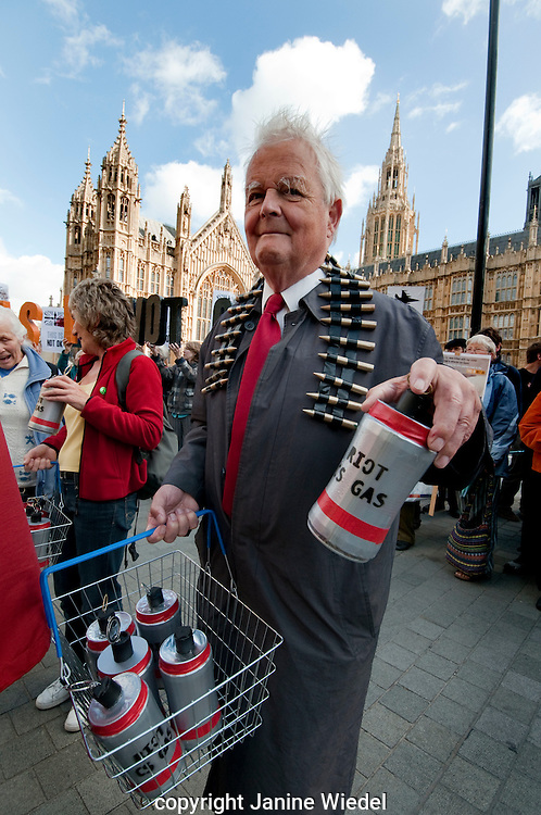 Bruce Kent at Protest outside House of Parliament London against the arms trade industry