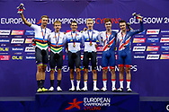 Podium, Men Madison,Theo Reinhardt and Roger Kluge (Germany) silver medal, Robbie Ghys and Kenny De Ketele (Belgium) gold medal, Oliver Wood and Ethan Hayter (Great Britain) bronze medal, during the Track Cycling European Championships Glasgow 2018, at Sir Chris Hoy Velodrome, in Glasgow, Great Britain, Day 5, on August 6, 2018 - Photo luca Bettini / BettiniPhoto / ProSportsImages / DPPI<br /> - Restriction / Netherlands out, Belgium out, Spain out, Italy out -