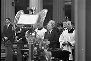 Mass For The 26th Dail.     (T3)..1989..29.06.1989..06.29.1989..29th June 1989..After the General Election  a mass took place today at the Pro-Cathedral in Dublin. The mass was to bless   the incoming TD's who were successful in their election to the Dáil...Image shows some of the members elected to the 26th Dáil. Image includes Alan Dukes TD, Charles Haughey TD, Mary O'Rourke Td and Albert Reynolds TD.