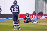 England womens cricket Katherine Brunt is not happy with partner England womens cricket Fran Wilson after being run out during the ICC Women's World Cup match between England and India at the 3aaa County Ground, Derby, United Kingdom on 24 June 2017. Photo by Simon Davies.