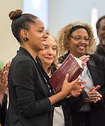Rhonda Skillern-Jones is sworn in during ceremonies for newly elected Houston ISD trustees, January 14, 2016.
