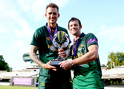 Chris Read and Alex Hales of Nottinghamshire celebrate with the Royal London One-Day Cup Trophy after their side's win over Surrey - Mandatory by-line: Robbie Stephenson/JMP - 01/07/2017 - CRICKET - Lord's Cricket Ground - London, United Kingdom - Nottinghamshire v Surrey - Royal London One-Day Cup Final 2017