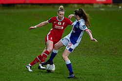 BIRKENHEAD, ENGLAND - Sunday, March 28, 2021: Liverpool's Rhiannon Roberts (L) and Blackburn Rovers' Aimee Hodgson during the FA Women's Championship game between Liverpool FC Women and Blackburn Rovers Ladies FC at Prenton Park. The game ended in a 1-1 draw. (Pic by David Rawcliffe/Propaganda)