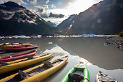 Sea Kayaks on a glacial lake near Valdez, Alaska