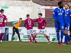 06MAR21Arbroath's Michael McKenna (8) cele scoring their second goal from a penalty. half time : Arbroath 2 v 3 Queen of the South, Scottish Championship played 6/3/2021 at Arbroath's home ground, Gayfield Park.