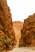 Red rockface of the Todra gorge, Morocco