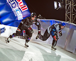 04-02-2012 SKATING: RED BULL CRASHED ICE WORLD CHAMPIONSHIP: VALKENBURG<br /> (L-R) Kyle Croxall CAN (winner of the tournament), Michal Prochazka CZE<br /> ©2012-FotoHoogendoorn.nl / Peter Schalk