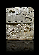 """Hittite monumental relief sculpted orthostat stone panel of Royal Buttress. Basalt, Karkamıs, (Kargamıs), Carchemish (Karkemish), 900 - 700 B.C. Anatolian Civilisations Museum, Ankara, Turkey.<br /> <br /> This panels scene showing 8 out of 10 children of the King, the hieroglyphs reads as follows: """"Malitispas, Astitarhunzas, Tamitispas,Isikaritispas, Sikaras, Halpawaris, Ya hilatispas"""". Above, there are three figures holding knucklebones (astragalus) and one figure walking by leaning on a stick; below are two each figures playing the knucklebones and turning whirligigs.  <br /> <br /> Against a black background. .<br />  <br /> If you prefer to buy from our ALAMY STOCK LIBRARY page at https://www.alamy.com/portfolio/paul-williams-funkystock/hittite-art-antiquities.html  - Type  Karkamıs in LOWER SEARCH WITHIN GALLERY box. Refine search by adding background colour, place, museum etc.<br /> <br /> Visit our HITTITE PHOTO COLLECTIONS for more photos to download or buy as wall art prints https://funkystock.photoshelter.com/gallery-collection/The-Hittites-Art-Artefacts-Antiquities-Historic-Sites-Pictures-Images-of/C0000NUBSMhSc3Oo"""