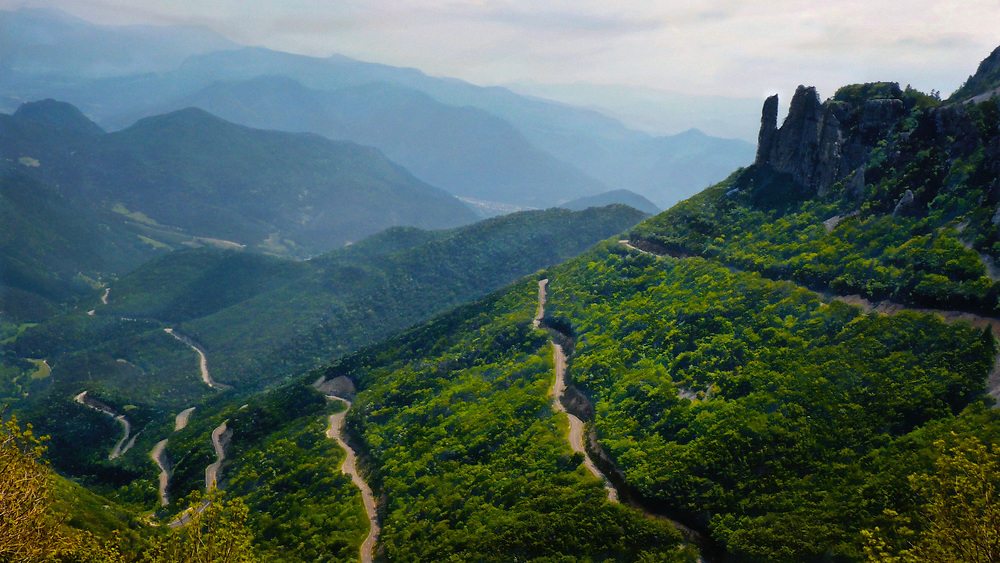 The Cevennes region of southern France is remote.  This image of the col d'Rousette pass road illustrates this very well.  It is just this sort of road through just this sort of landscape that makes motorcycle touring in mountain regions of Europe so spectacular and rewarding.