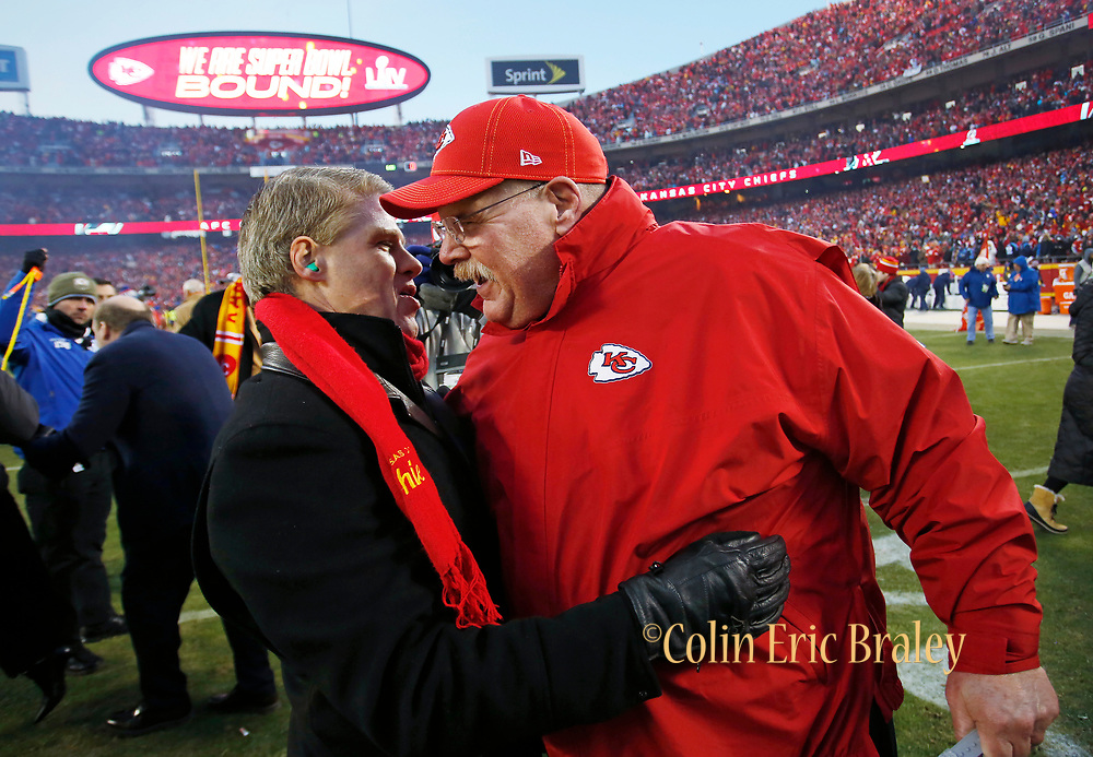 Kansas City Chiefs owner Clark Hunt, left, and head coach Andy Reid, right, celebrate their team winning an NFL, AFC Championship football game against the Tennessee Titans, Sunday, Jan. 19, 2020, in Kansas City, MO. The Chiefs won 35-24 to advance to Super Bowl 54. (AP Photo/Colin E. Braley) Colin Eric Braley Photography