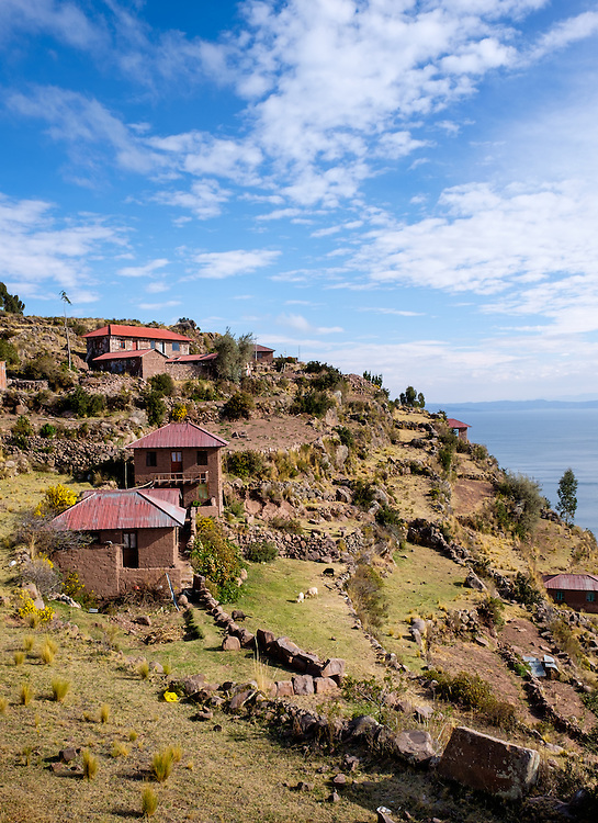 PUNO, PERU - CIRCA OCTOBER 2015: Houses of the Island of Taquile in Lake Titicaca.