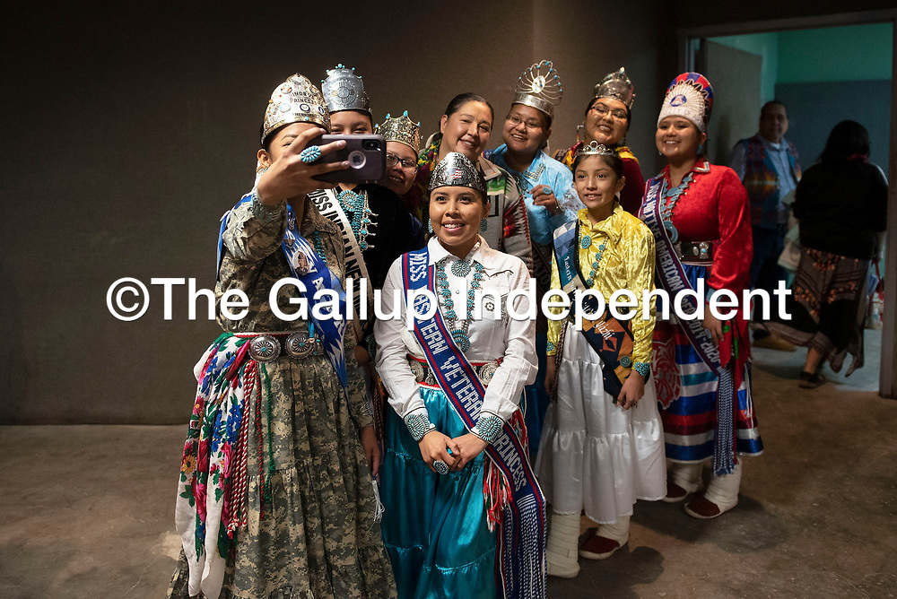 Council Delegate Amber Kanazbah Crotty poses for a selfie with Navajo Nation royalty at the New Mexico Indigenous Women's Resource Council launch celebration at Rio West Mall in Gallup Saturday.