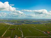 Nederland, Friesland, Gemeente Sudwest-Fryslan (Zuidwest-Friesland), 16-04-2012. Omgeving van Hieslum, Wunseradiel. Monnikenburenpolder met zich op het meer Oudegaasterbrekken. De verschillenden plassen zijn ontstaan door vervening. Aan de horizon de Fluesssen..Lakes, the result of digging peat..luchtfoto (toeslag), aerial photo (additional fee required);.copyright foto/photo Siebe Swart