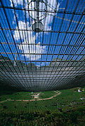 Under the dish at Arecibo Observatory in Arecibo, Puerto Rico. The dish, comprised of 38,778 panels of mesh aluminium, is completely suspended.