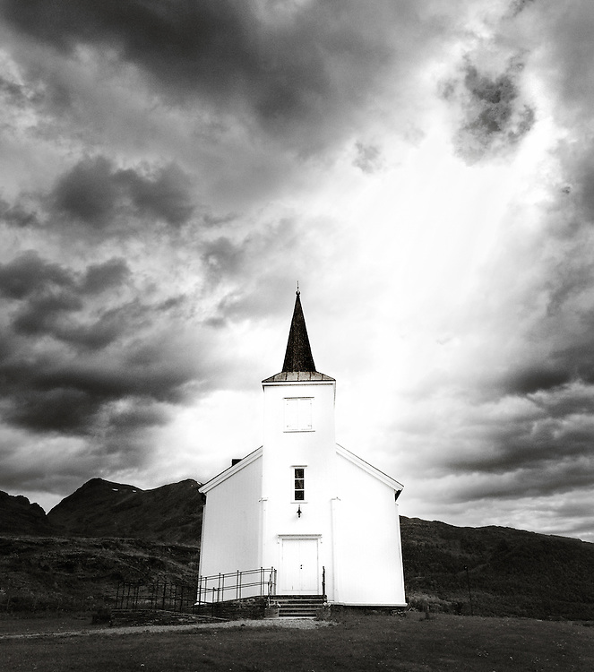 Norway - Sunray over church in Langfjord